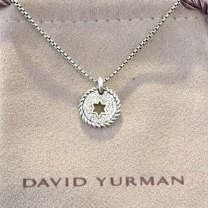 David Yurman SS/18k/Diamond Star of David Necklace
